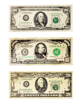 Banknotes of the American dollars face value 20, 100 and 1000