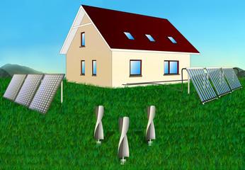 House renewable energy solar panels, collectors, windmill