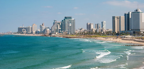 Promenade and beach of Tel Aviv modern