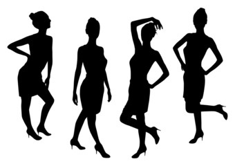 Standing Girls Silhouettes