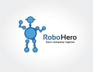 Abstract blue robot vector logo icon concept. Logotype template