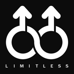 Double male Limitless symbol, vector