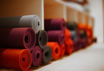 yoga mats in yoga club