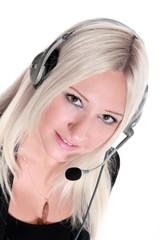 Junge blonde Frau mit Headset im Business Service Center
