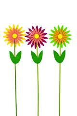 Three colorful artificial flowers on white background