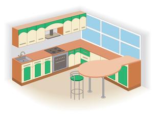 modern kitchen interior (vector illustration)
