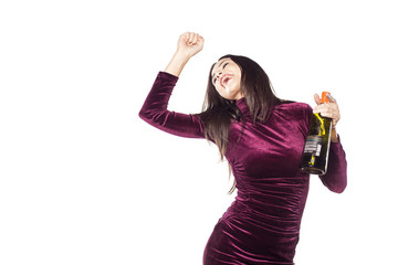 playful, happy young woman with a bottle in her hand