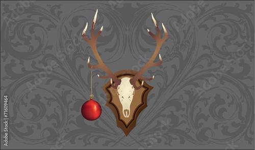 hirschgeweih mit weihnachtskugel vor garuer tapete stockfotos und lizenzfreie vektoren auf. Black Bedroom Furniture Sets. Home Design Ideas