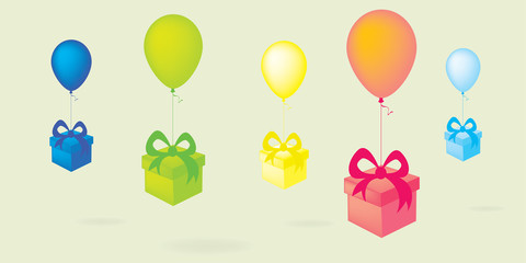 Flying colorful balloons with gift boxes vector background