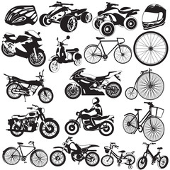 bicycle and motorcycle icons