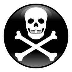 Button Gefahr, rund, weiß-schwarz, Vektor, freigestellt