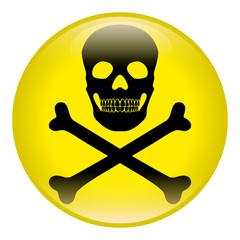 Button Gefahr, rund, gelb, schwarz, Vektor, freigestellt