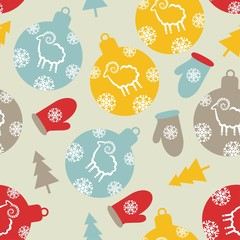 pattern seamless Christmas. balls of sheep mittens Christmas tre