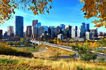 Skyline of the city of Calgary, Alberta during autumn