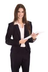 Attraktive junge Geschäftsfrau freigestellt