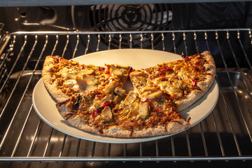 Heating ready-to eat pizza in oven