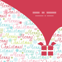 Vector merry christmas text gift box silhouette pattern frame