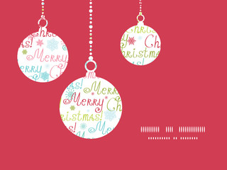 Vector merry christmas text holiday ornaments silhouettes