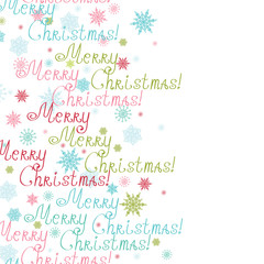 Vector merry christmas text vertical frame seamless pattern
