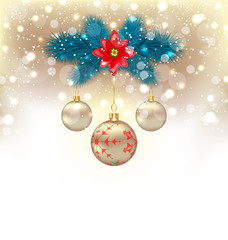 Christmas gliwing background with fir branches, glass balls and