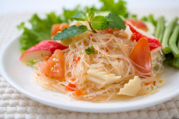 vermicelli salad,Thailand food noodle salad,and spisy salad