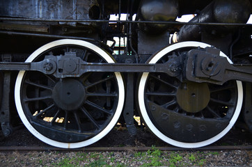 Detail of the wheels of an old steam train