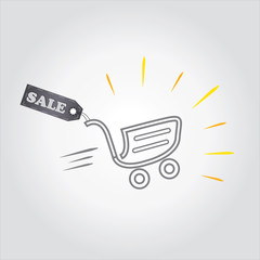 Shopping cart with sale tag. Concept of discount. Vector .