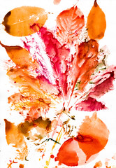 autumn leaves watercolor print on paper
