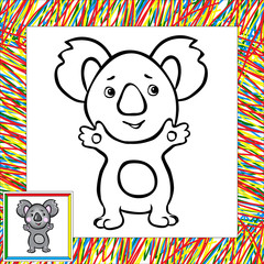 Cartoon koala coloring book with border