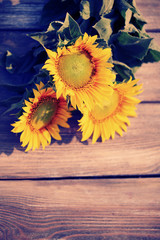 Beautiful sunflowers on table close-up