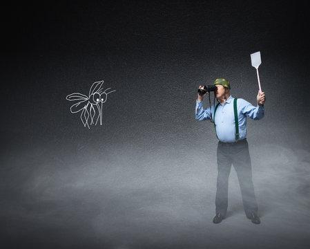 veteran soldier war with mosquito