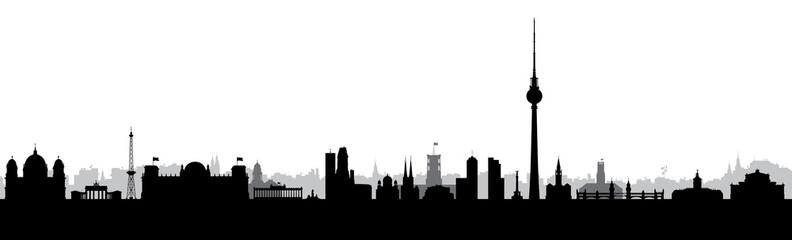 Berlin, Hauptstadt, Panorama, Silhouette, Stadt, Banner, Design