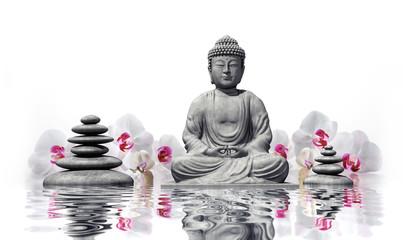 Wall Mural - Buddha mit Orchideen im Wasser