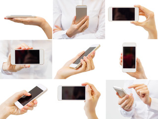 Woman holding mobile phone, collage of different photos