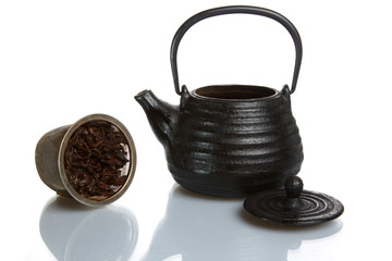 Typical asian teapot on white background.