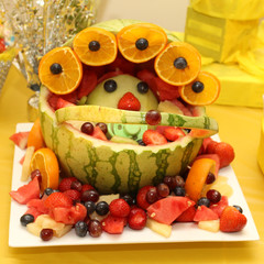 Fruit baby carriage on baby shower occasion
