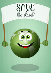 Funny green earth for save the planet