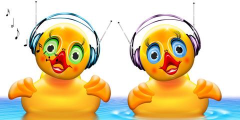 zwei musikalische Badeenten mit Kopfhörer