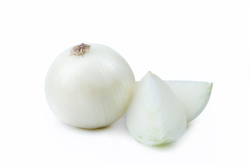 Wall Mural - One White Onion and Sliced Pieces - Clipping Path Inside