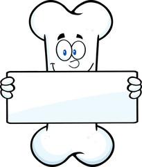 Funny Bone Cartoon Mascot Character Holding A Banner
