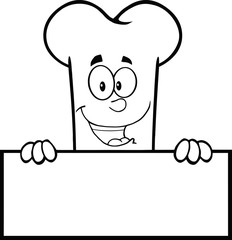 Black And White Smiling Bone Cartoon Character Over A Blank Sign