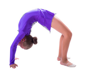girl gymnast standing on the bridge