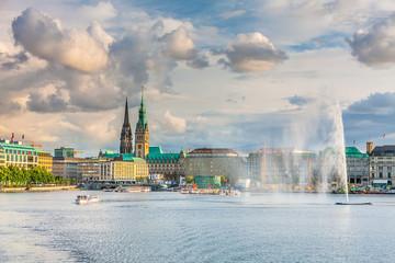 Panoramic view of the lake and the center of Hamburg