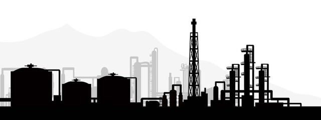 Oil and gas refinery-vector