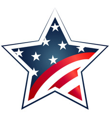 Star USA Flag illustration. Vector icon symbol logo