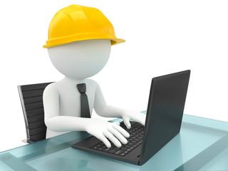 Handwerker mit Helm und Computer