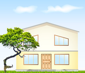 Vector illustration facade with tree