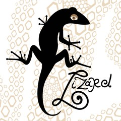 black isolated silhouette of a lizard on a decorative background
