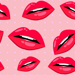 Seamless lips pattern over pink with light dots