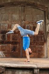 Breakdancer doing handstand